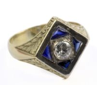 A diamond signet ring with a platinum setting