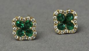Emerald and diamond Alhambra style pair of stud earrings