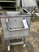 Stainless Steel Mobile Bin/ Tank, with bottom outl