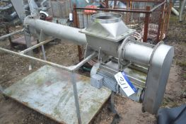 Stainless Steel 150mm dia. Screw Auger Conveyor, approx. 1.8m long, with geared electric motor