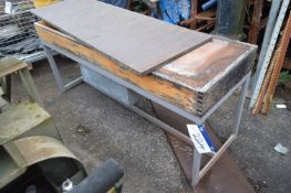 Steel Framed Timber Top Bench, approx. 1.82m x 600