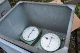 Two Salter 600lb Crane Scales, in steel chest (che