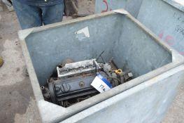 Four Cylinder Diesel Engine, in steel chest (chest