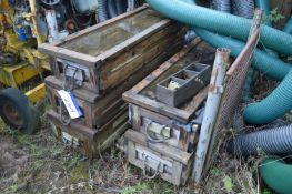 Rubbered Tank Liners, in five wood cases (post pallet excluded)