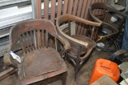 Three Timber Framed Arm Chairs