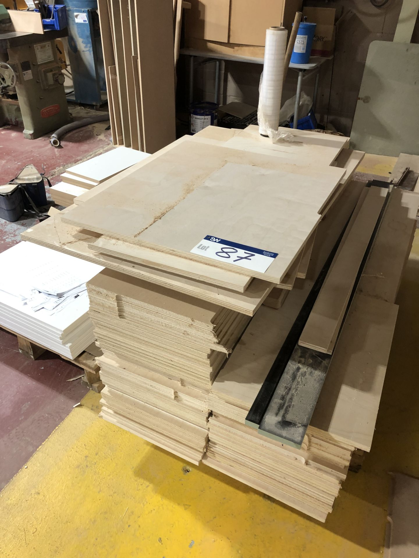 Lot 87 - Contents to Pallet Including Various Plywood Sheets, Ave 1630 x 380 x 18mm