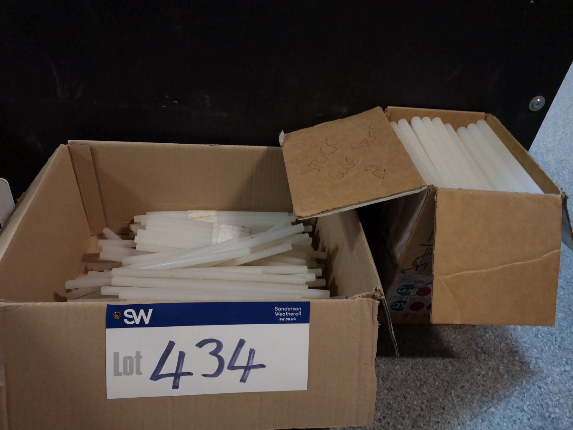 Lot 434 - Quantity of Hot Melt Glue Sticks as Set Out In 2 Boxes