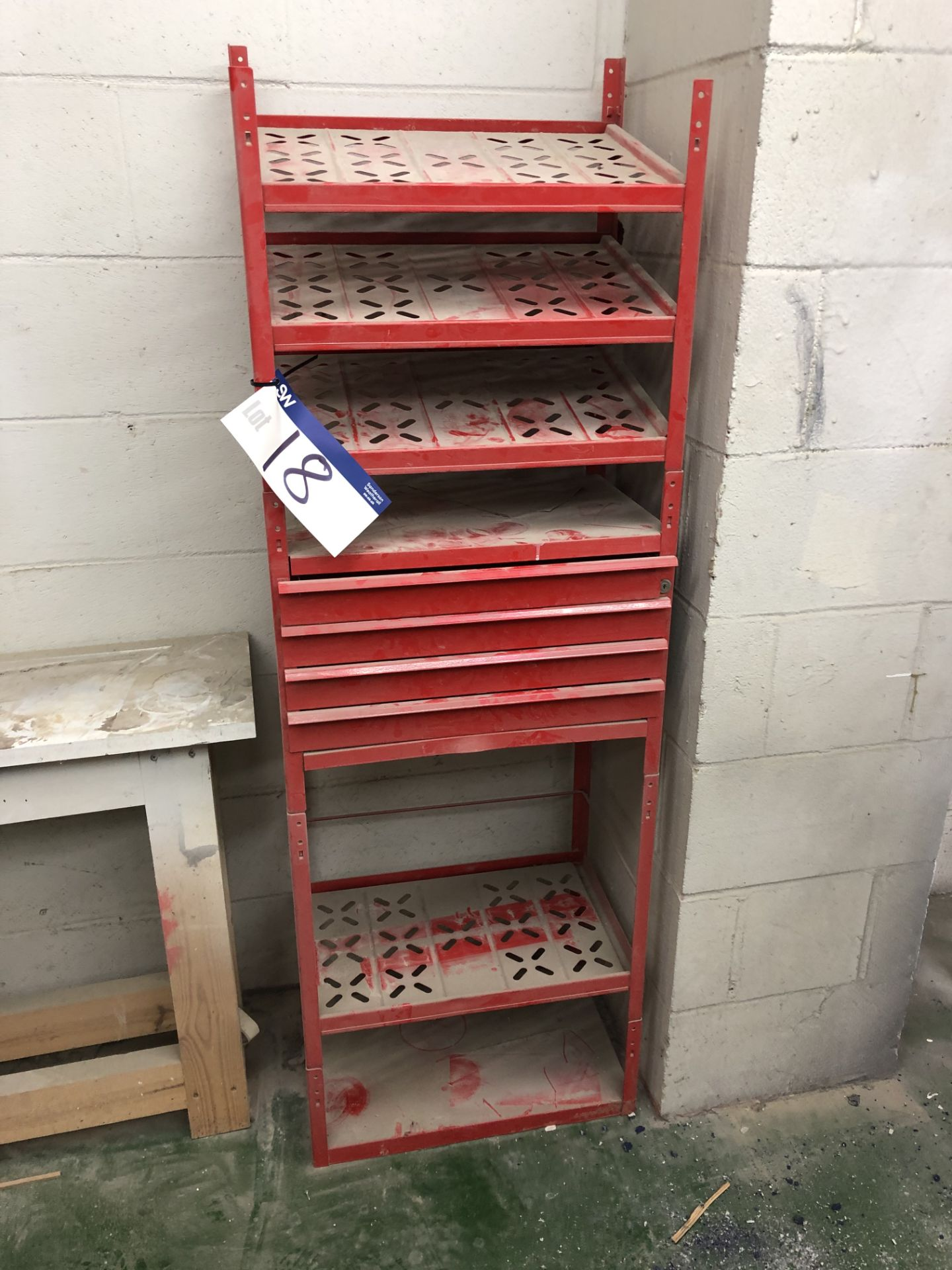 Lot 18 - Red Steel Pack and Drawer Unit