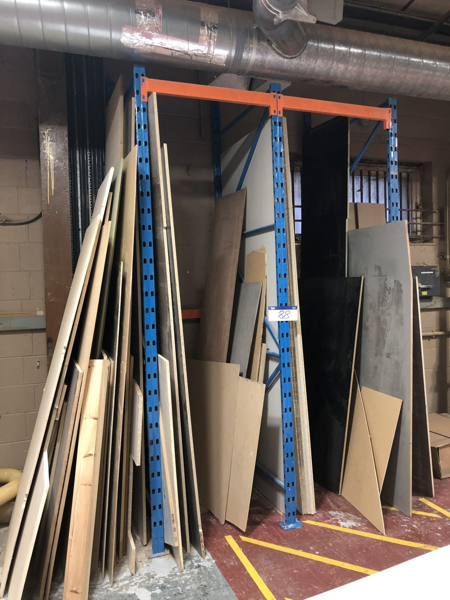 Lot 88 - Contents to Rack Including Various MDF, Chipboard and Ply Sheets