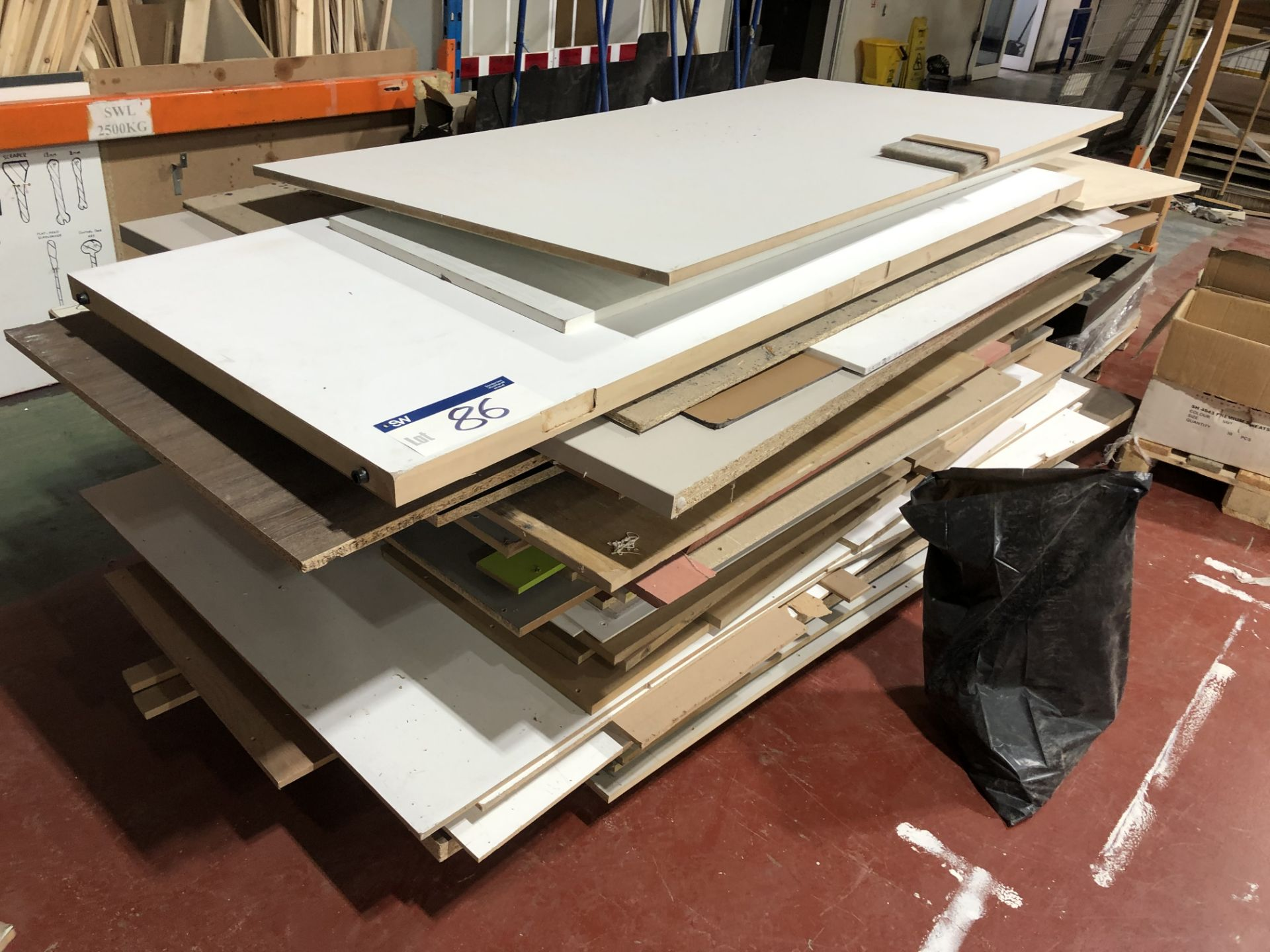 Lot 86 - Contents to Pallet Including Various Chipboard and MDF Sheets