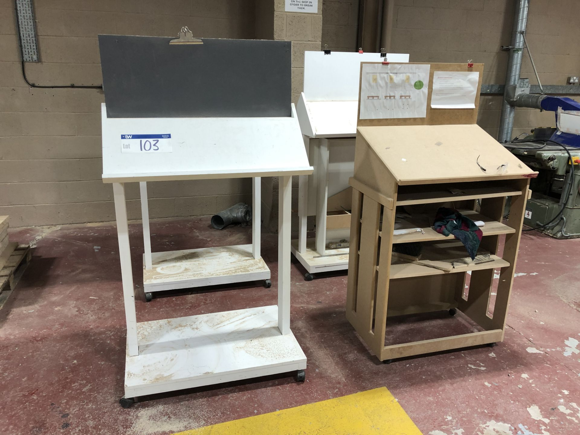 Lot 103 - 4 Mobile Lectern Work Tables
