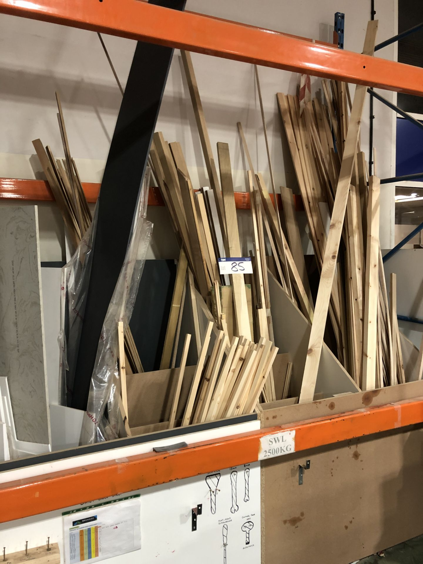 Lot 85 - Contents to the Rack Including Various Beading and Timber