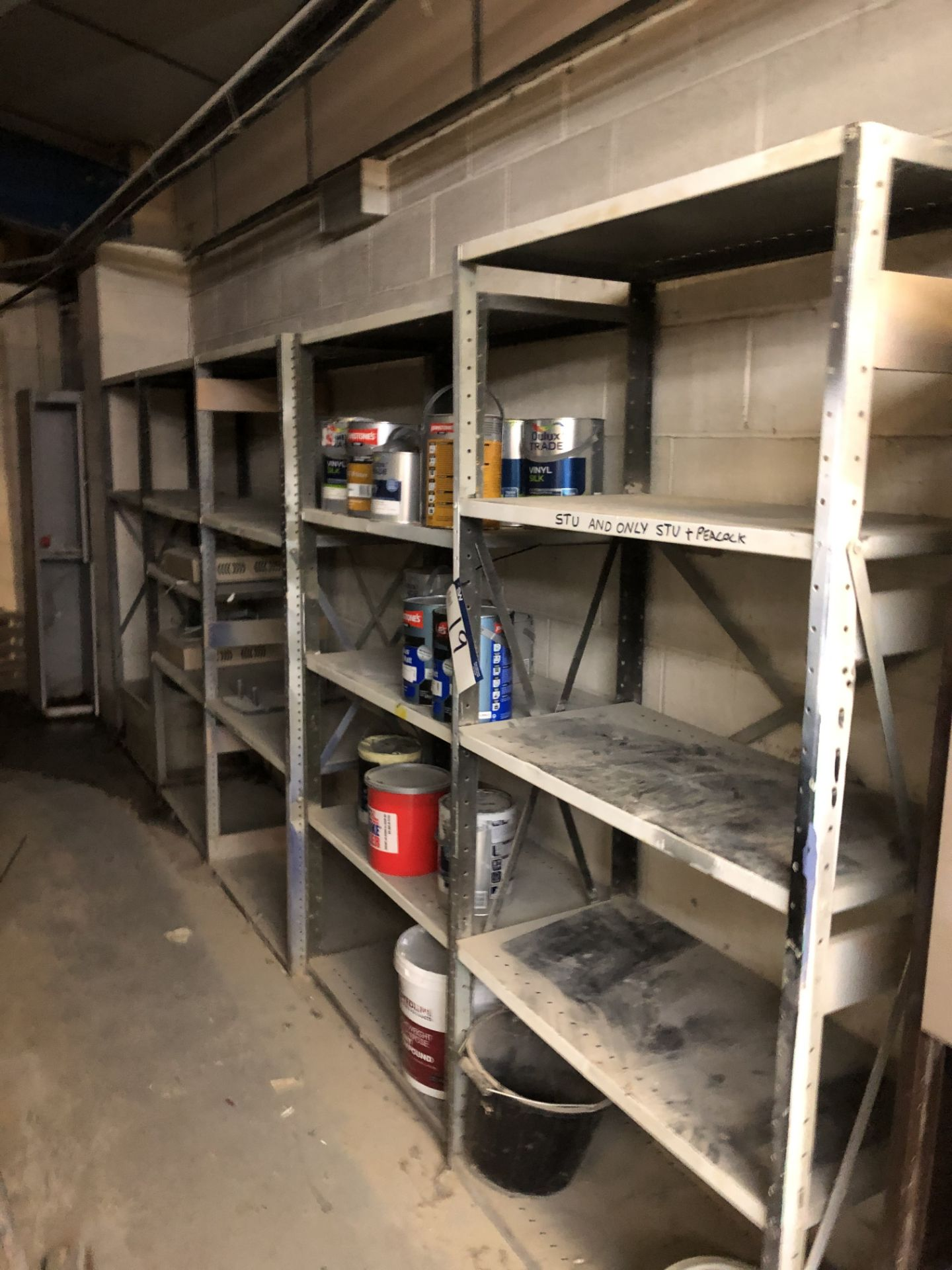 Lot 19 - 5 Bays of Steel Shelving and Contents