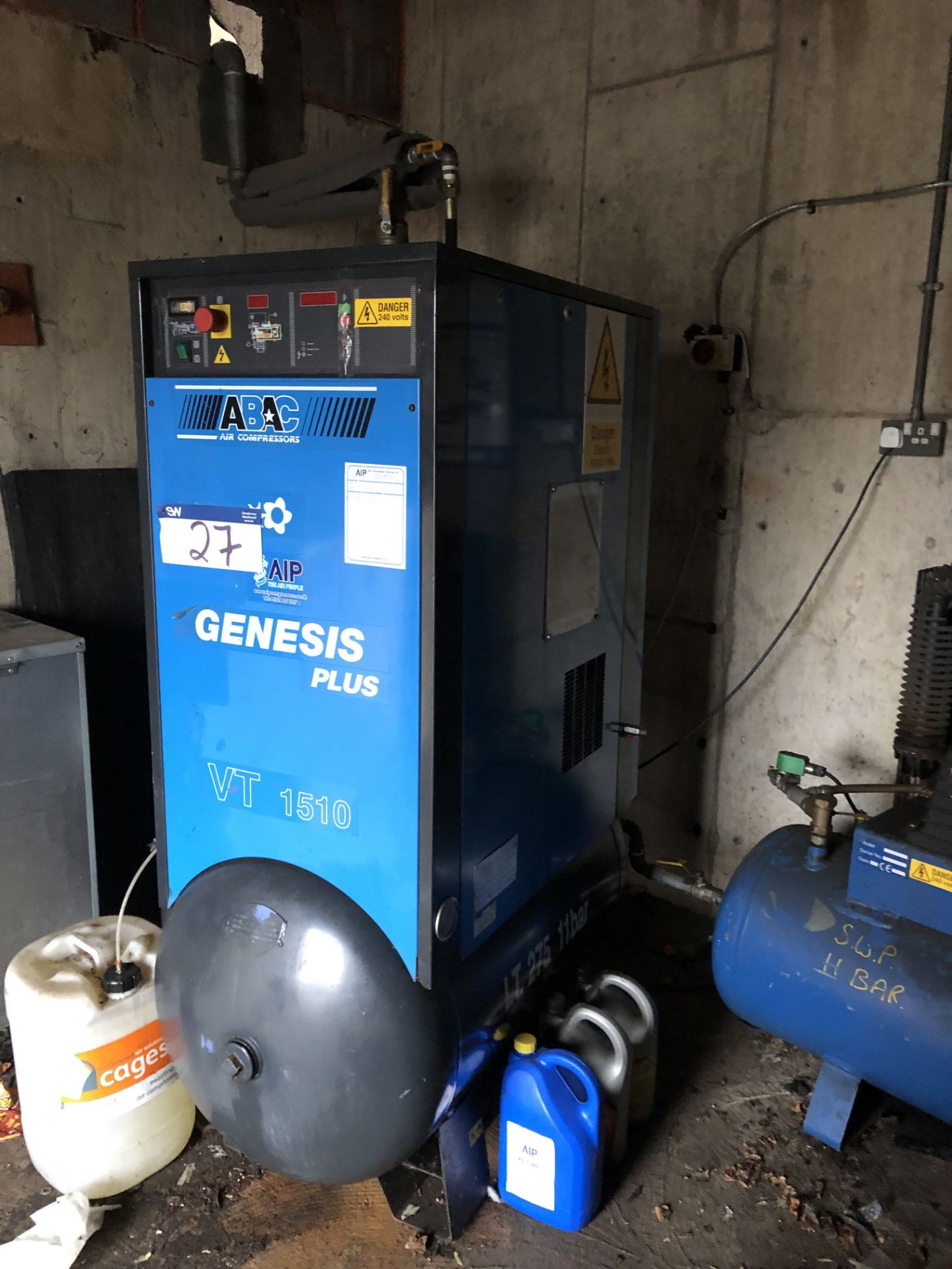 Lot 27 - Abac Genesis Plus VT 1510 Receiver Mounted Rotary Screw Air Compressor. Serial Number TP015398G.