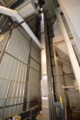 STAINLESS STEEL CASED BUCKET ELEVATOR, 210mm wide on casing, approx. 10m centres high, with electric