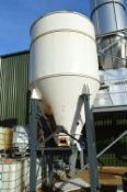 WELDED STEEL STORAGE HOPPER, approx. 2.2m dia. x 3.6m deep overall, with Feedtech RD 930 rotary