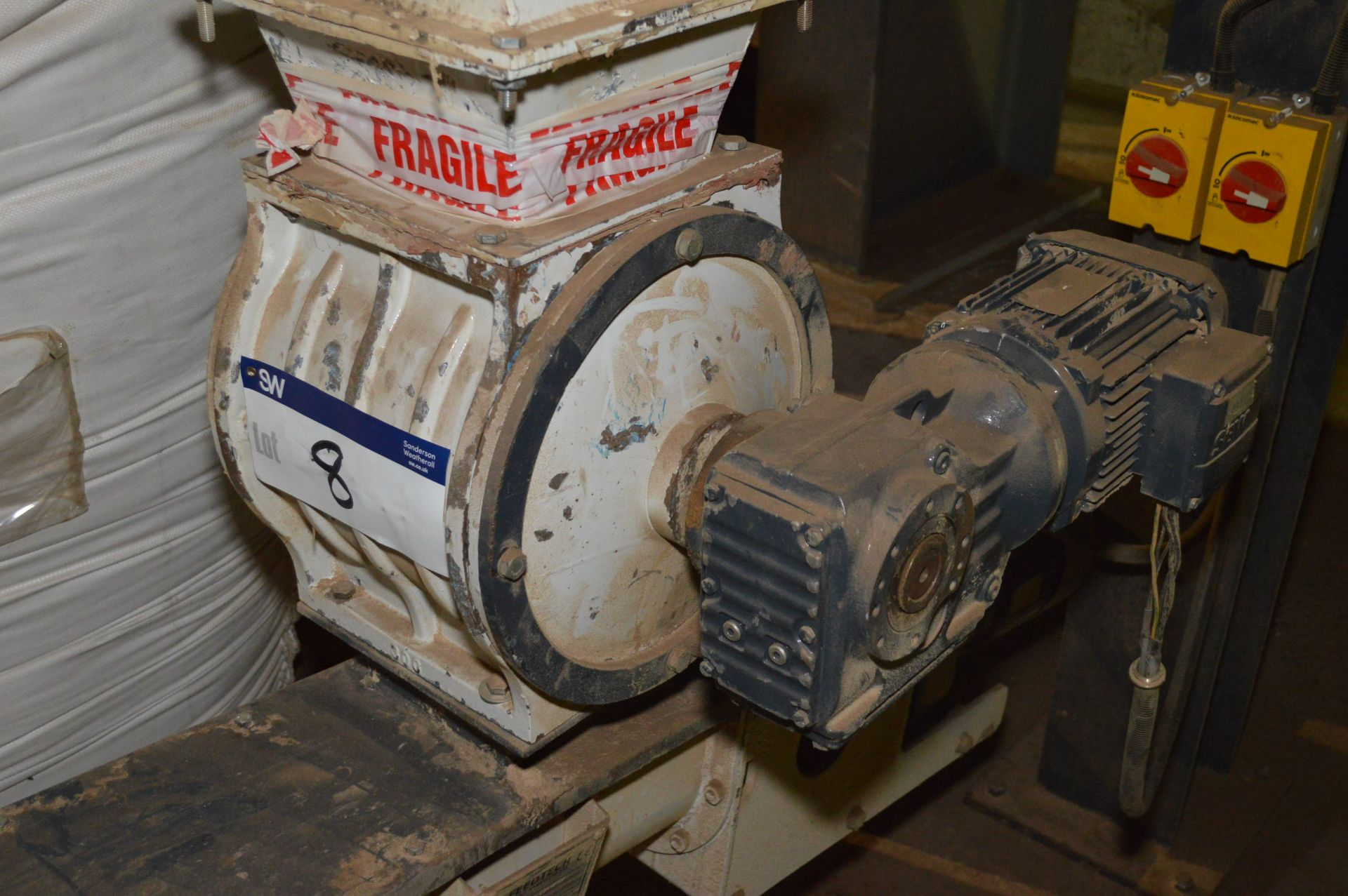 Lot 8 - Geared Motor Driven Rotary Air Seal, approx. 200mm x 200mm on inlet, (please note this lot is part