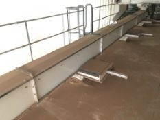 350mm CHAIN & PLASTIC FLIGHT CONVEYOR, approx. 11m long, with geared electric motor, five