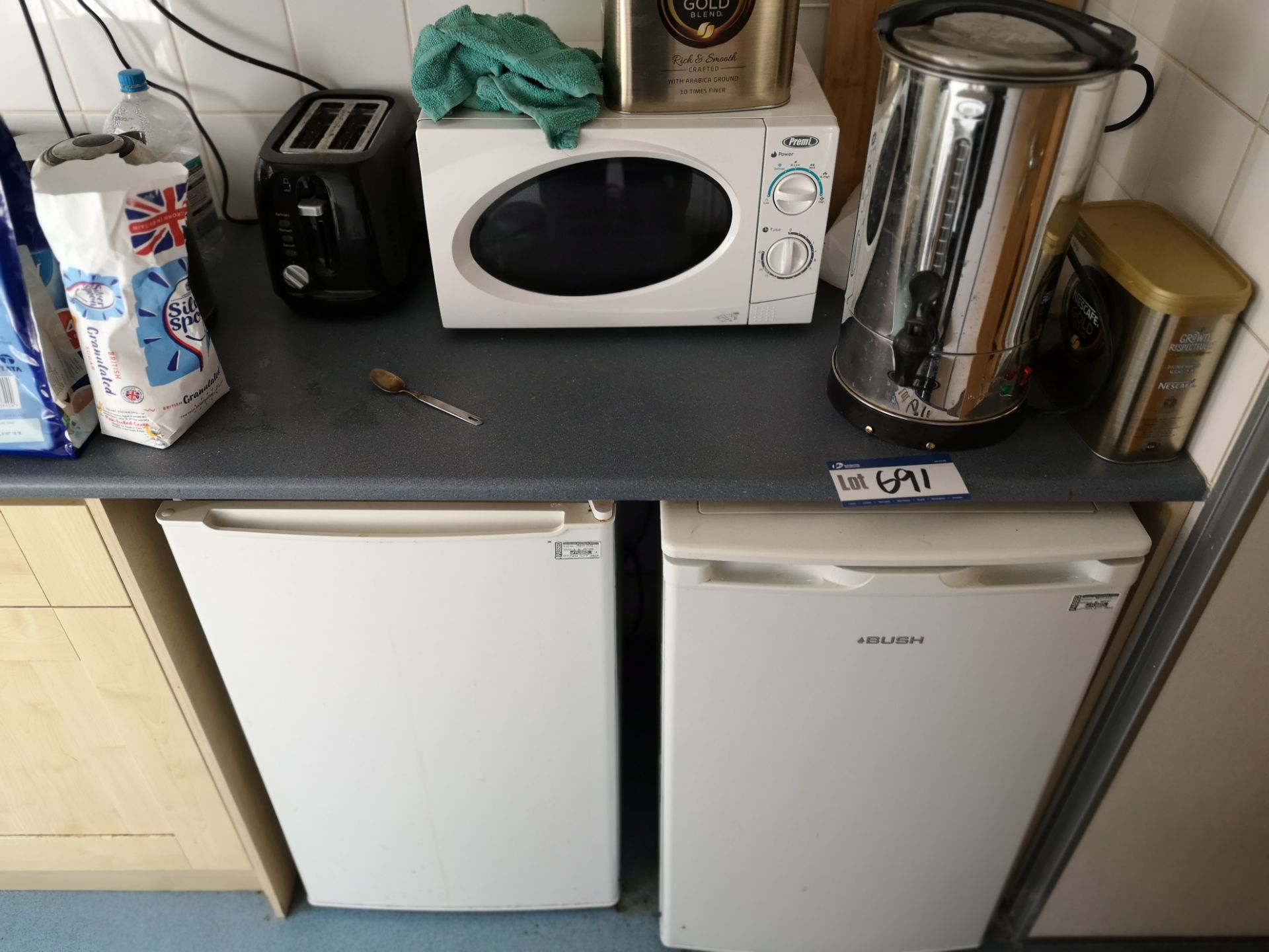 Lot 691 - Toaster, Microwave, Water Boiler & Two Under The C