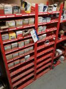 Five Bays of Red Steel Shelving, approx. 535mm x 3
