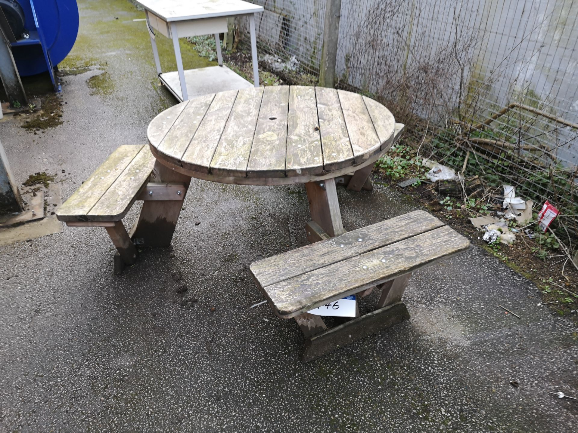 Lot 446 - Timber Three Seat Circular Picnic Table (LOT LOCAT