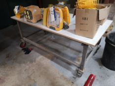 Mobile Metal Framed Workbench, approx. 2000mm x 10