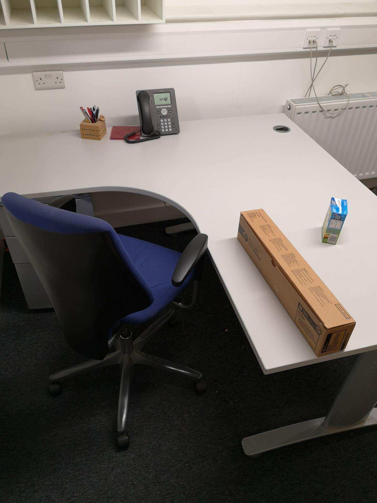 Lot 365 - Grey Workstation, with blue swivel chair (LOT LOCA