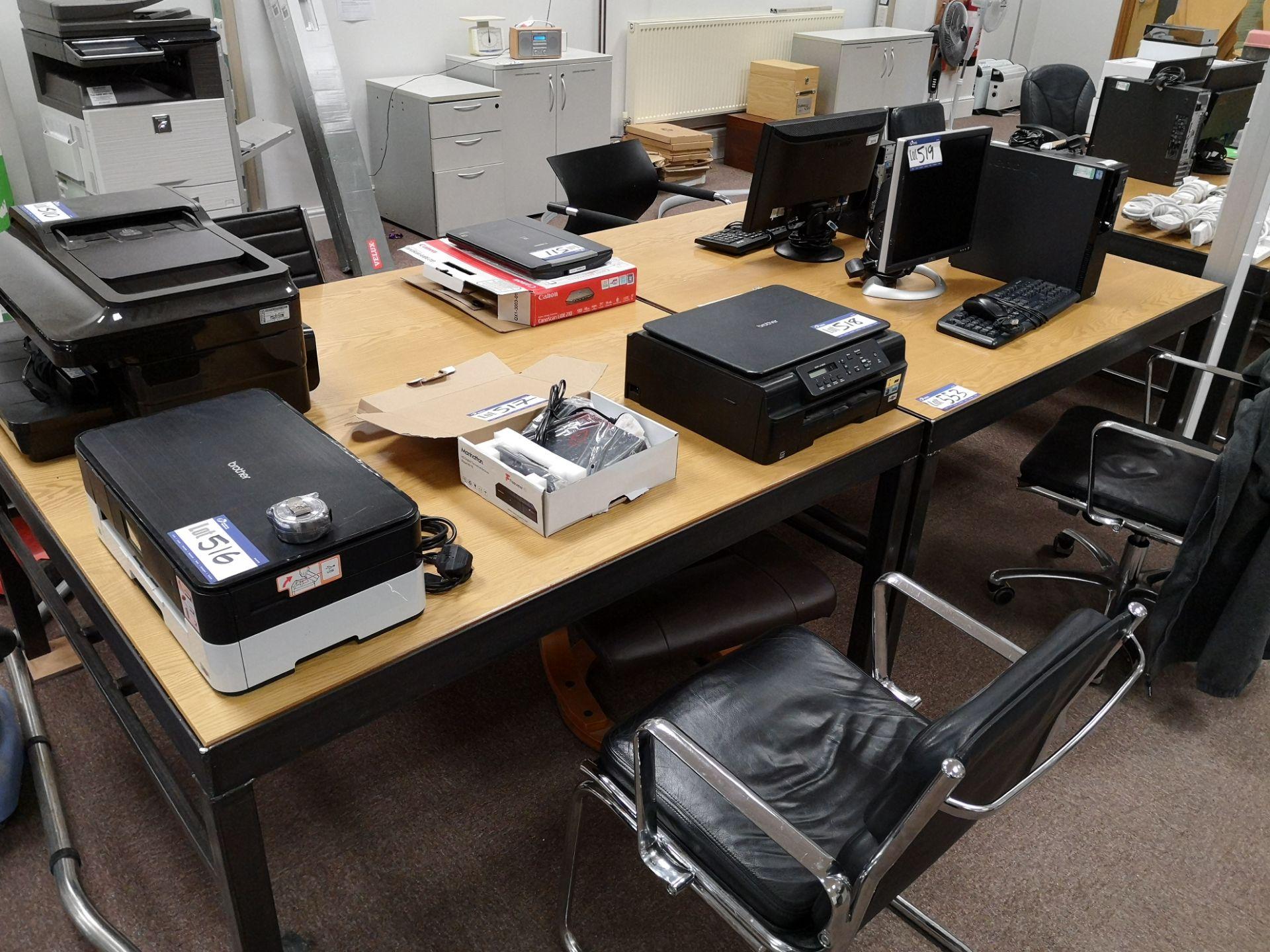 Lot 553 - Two Metal Framed Light Oak Veneered Workstation, a