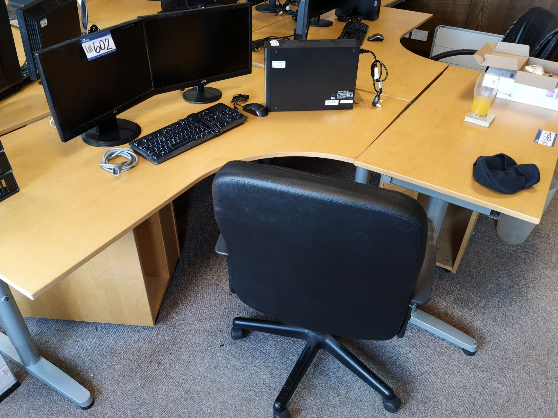 Lot 664 - Four Light Oak Veneered Workstations, with two lig