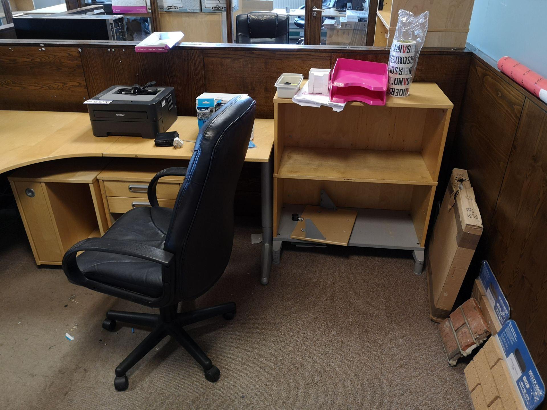 Lot 659 - Light Oak Veneered Workstation, with three drawer