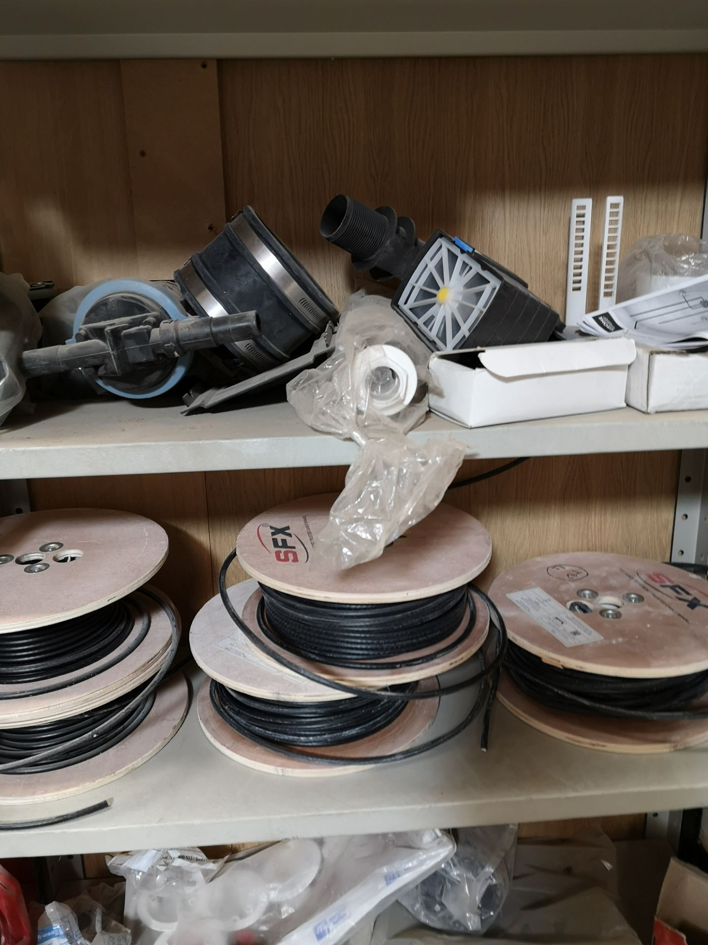 Lot 198 - Contents to Two Bays of Shelving, including coax c