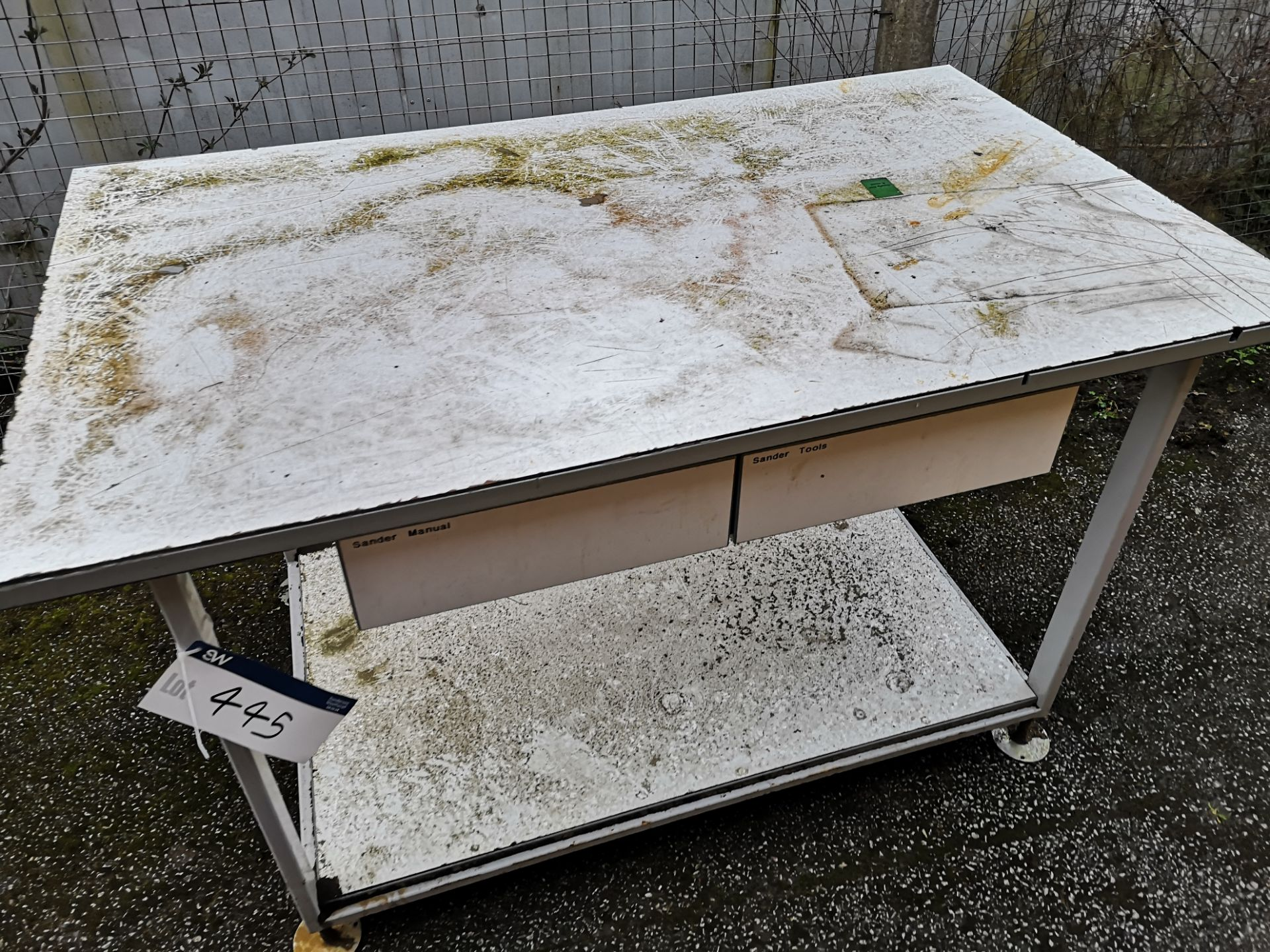 Lot 445 - White Metal Workbench (LOT LOCATED AT 8 WHITEHOUSE