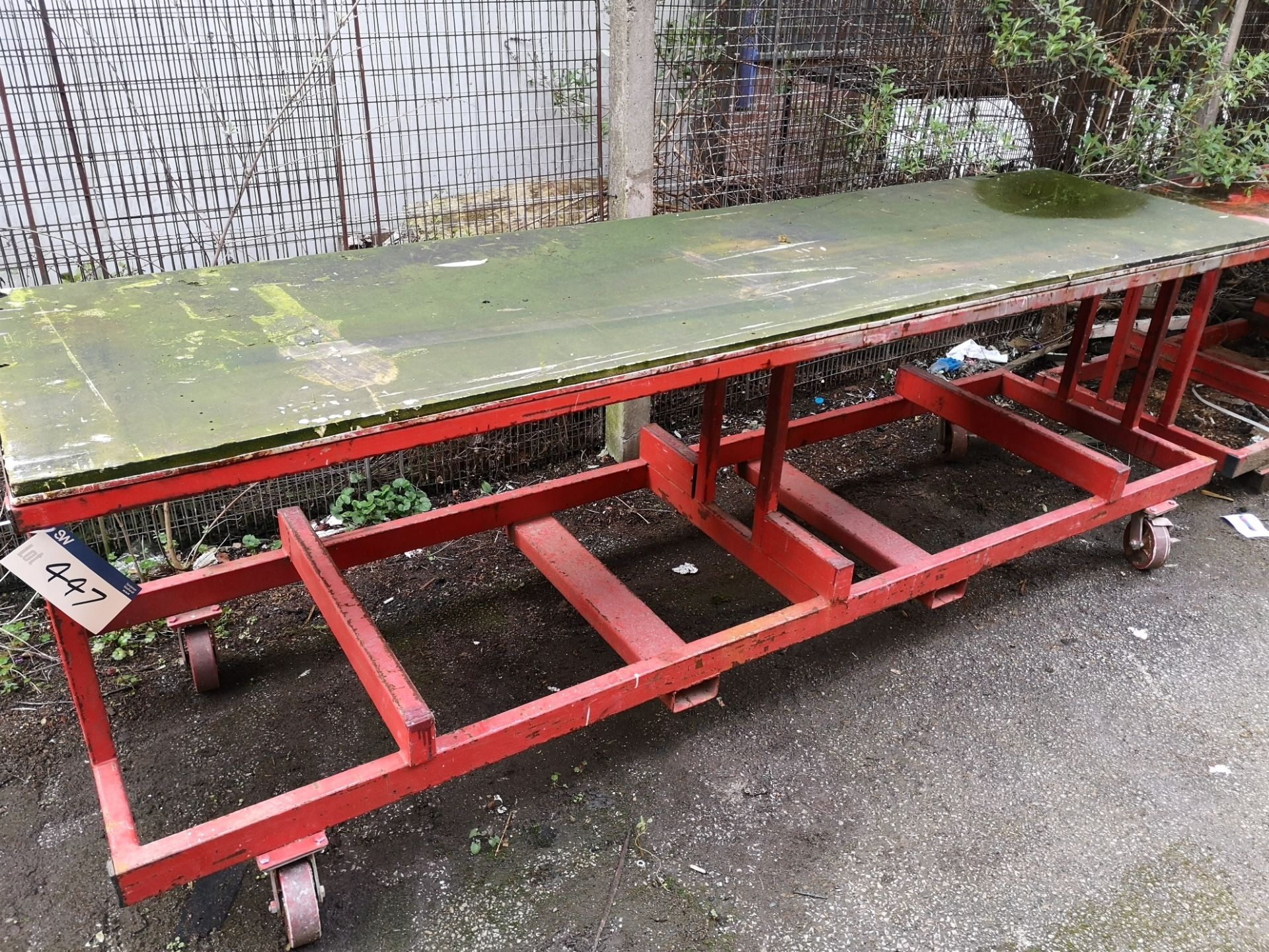 Lot 447 - Red Steel Mobile Workbench (LOT LOCATED AT 8 WHITE