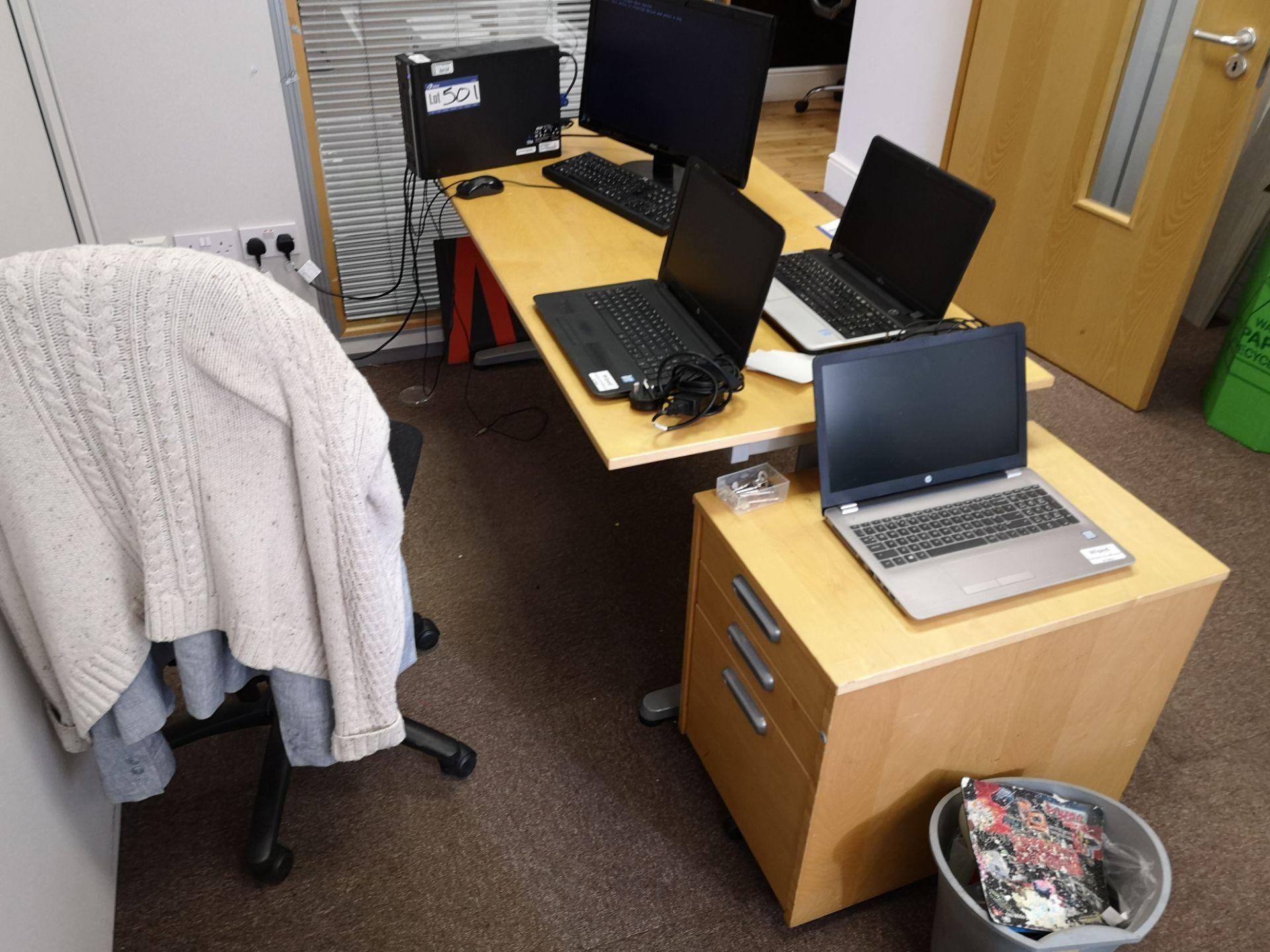 Lot 569 - Light Oak Veneered Workstation, with three drawer