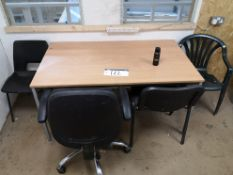 Table, with four various chairs (located on first