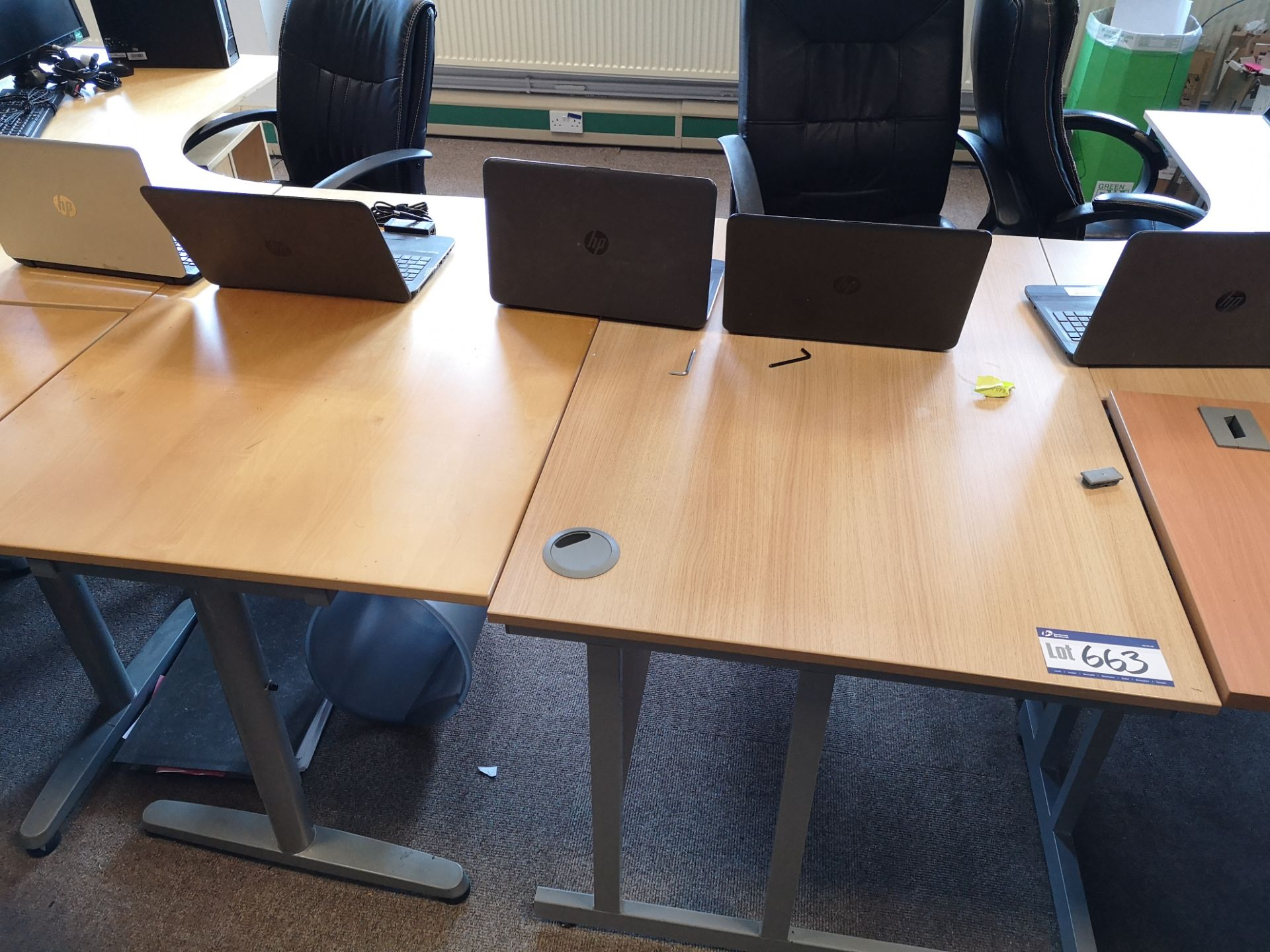Lot 663 - Two Light Oak Veneered Workstations, with two ligh