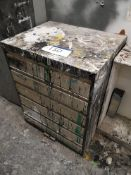 Six Tier Steel Drawer, with contents (LOT LOCATED