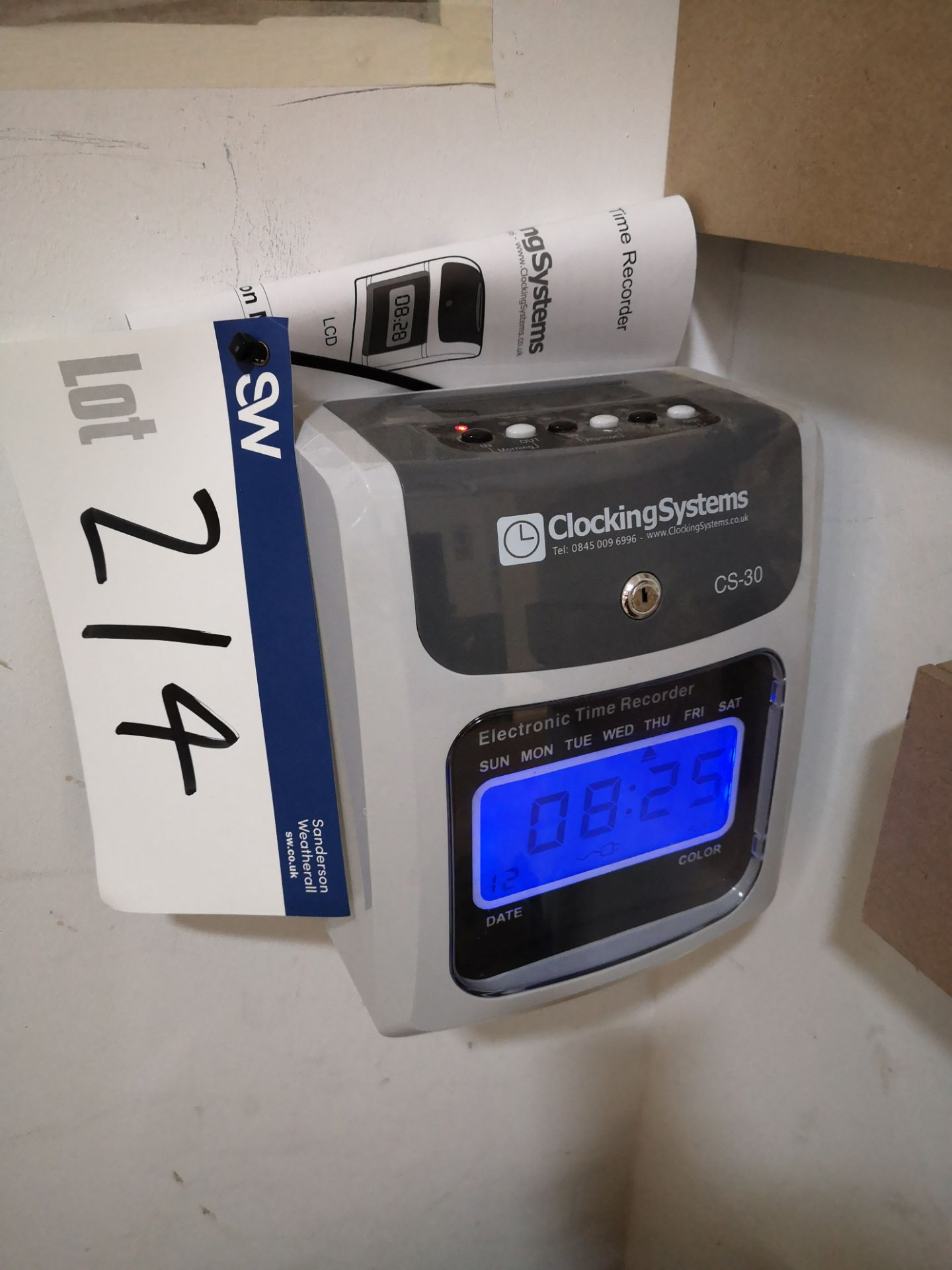 Lot 214 - Clocking Systems CS-30 Electronic Time Recorder (L