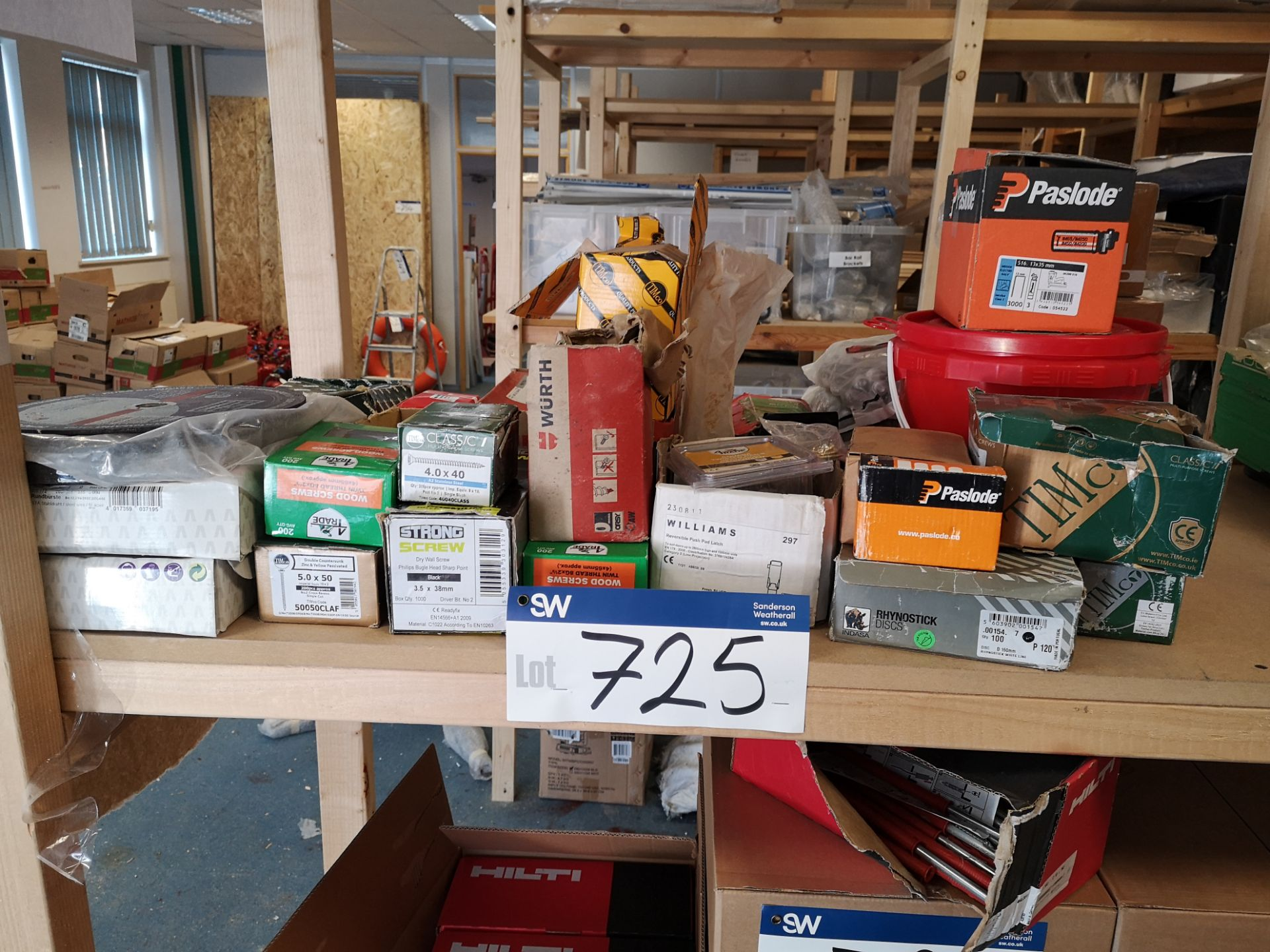 Lot 725 - Quantity of Screws & Fixings, as set out on one sh
