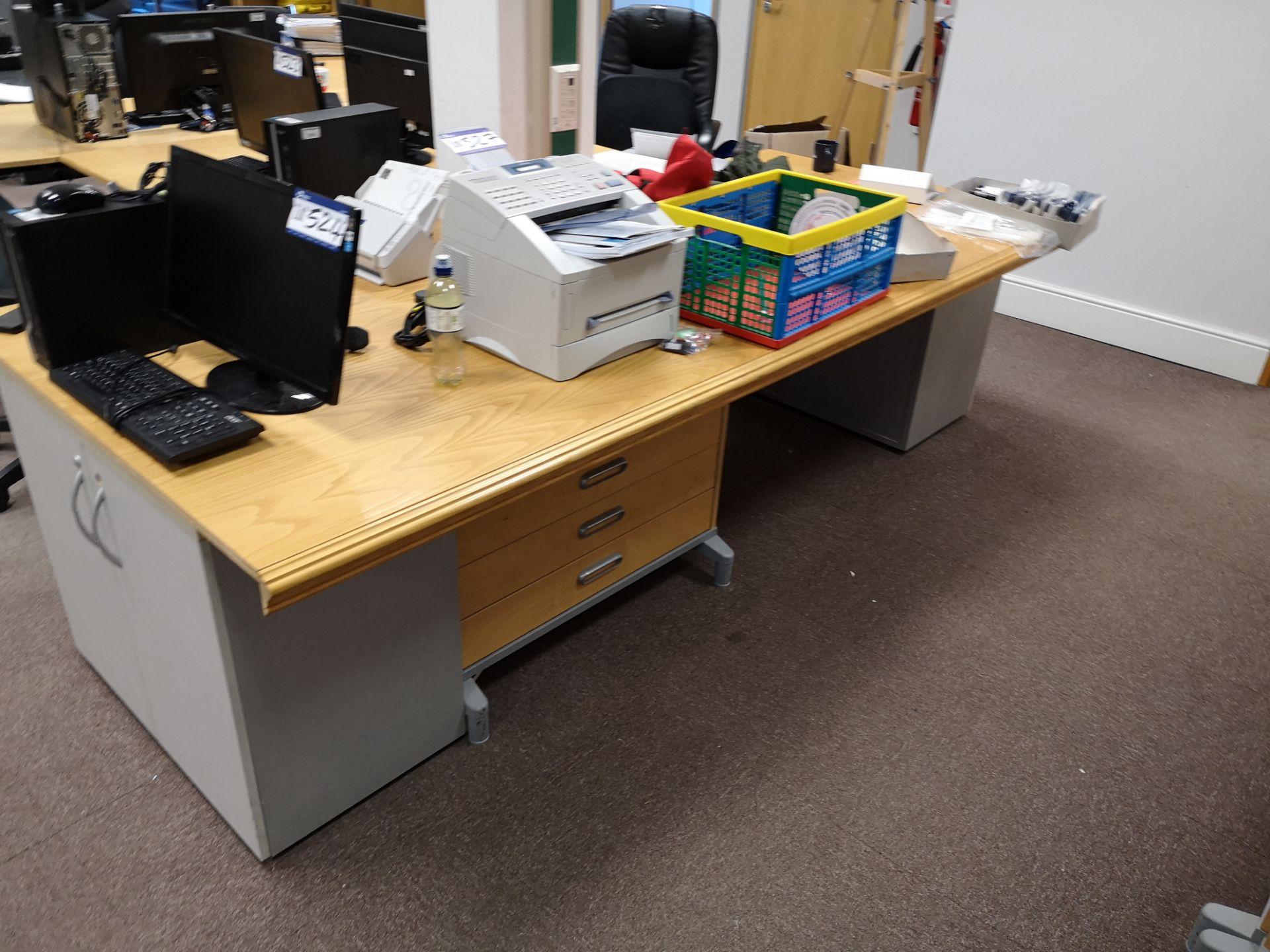Lot 551 - Light Oak Veneered Shaped Workstation, with light
