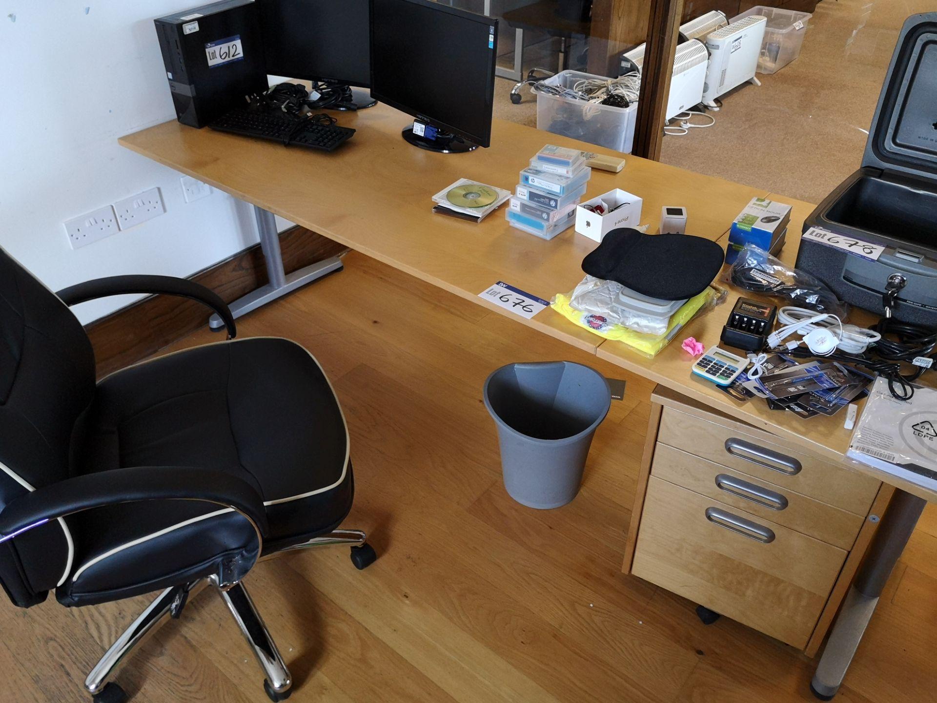 Lot 676 - Two Light Oak Veneered Desks, with two x three dra