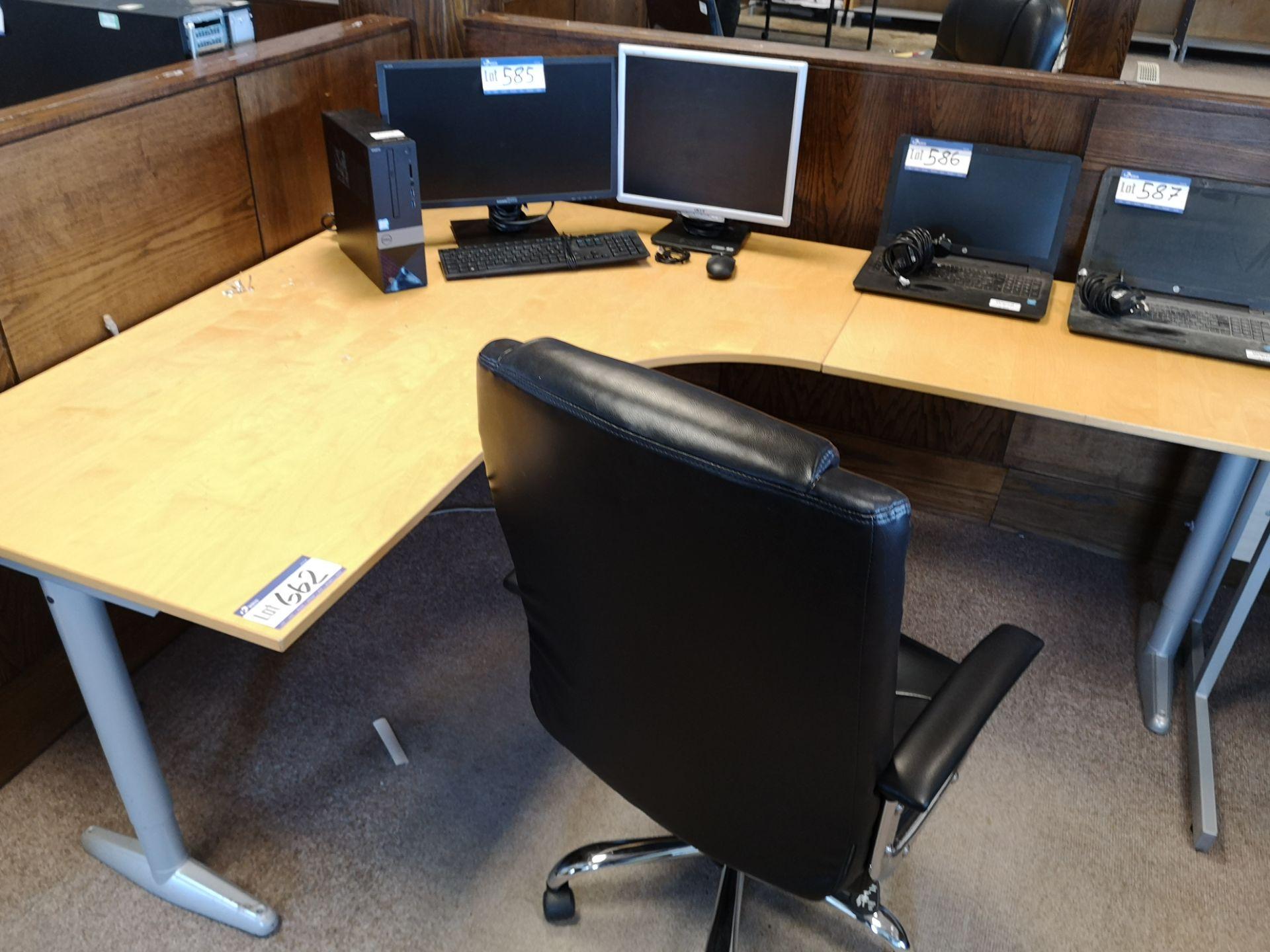 Lot 662 - Light Oak Veneered Workstation, with three black s
