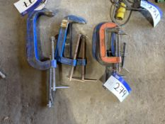 Eight Assorted G Clamps