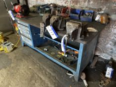 Steel Framed Workshop Bench, with fitted Record No
