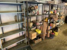 Five Steel Multi-Tier Stock Racks, with contents i
