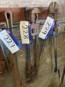 Two 36in. Pipe Wrenches, as set out on rack