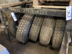 Five 295/ 80R 22.5 Tyres & Wheels (understood to b