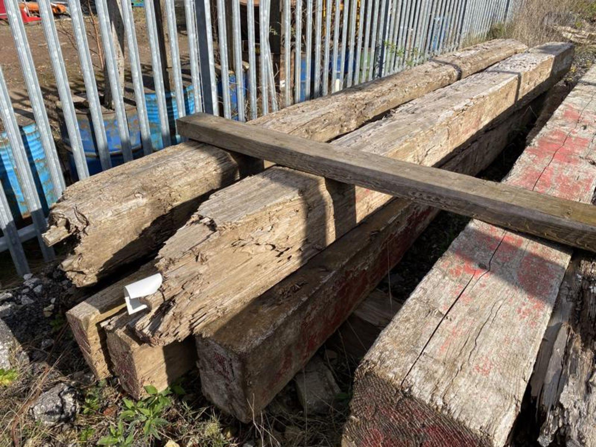 Lot 165 - Five Timber Baulks, each approx. 300mm x 300mm x m