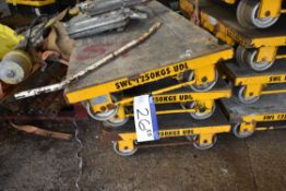 Five Permaquip 1250kg SWL Rail Link Trolleys, each