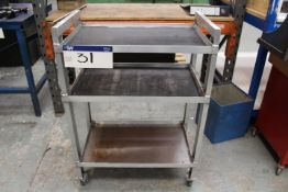 Alloy Three Tier Trolley, approx. 700mm wide
